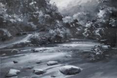 From Fingle Bridge, 30 x 25cm, oil on wood panel