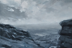 From Sharp Tor (towards River Dart), 30 x 30cm, oil on wood panel