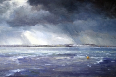 'Storm over Sheppey', oil on board, 59 x 29cm