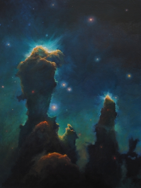 Interpretation of Eagle Nebula, 80 x 58cm, oil on canvas