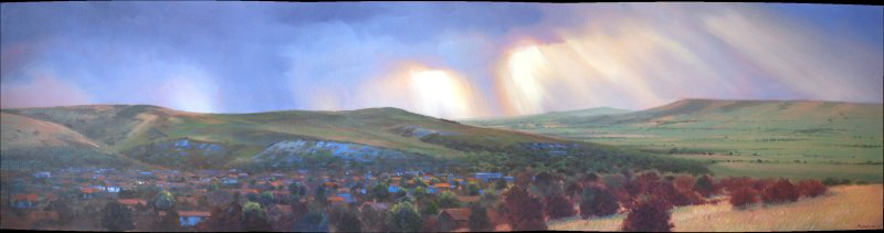 Panorama Lewes, 160cm x 40cm, oil on canvas - sold