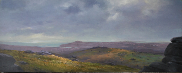From Hay Tor towards Teignmouth, 28.5 x 73cm, oil wood panel