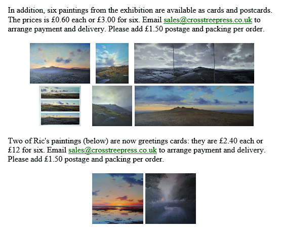Postcards & Greetings Cards of Ric Horner's paintings