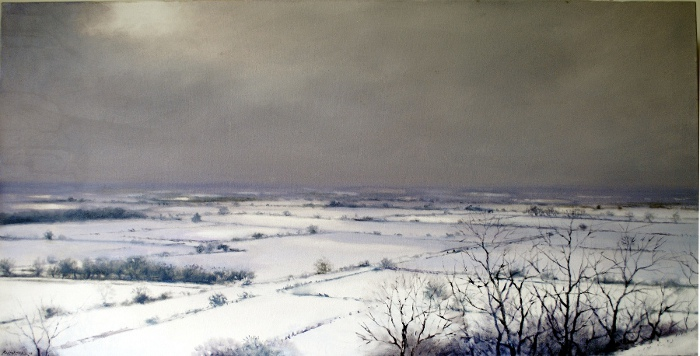 'Snowscape, North East from Crown Hill', 51 x 100cm, oil on wood panel