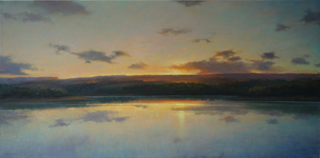 Ric W. Horner - Fernworthy Reservoir, oil on canvas, 100 x 50cm