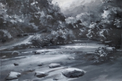 From Fingle Bridge, 30 x 25cm, oil on wood panel
