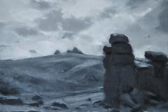 Hound Tor towards Haytor. 26 x 25cm, oil on wood panel