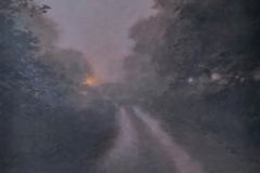 Night Walk with Dr Mortimer (1), 61 x 61cm, oil on wood panel