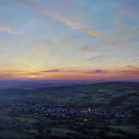 SOLD - Moretonhampstead from Easdon Tor, oil on canvas, 68 x 128cm.