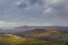 From Haytor towards Teignmouth, 29 x 73cm, oil wood panel